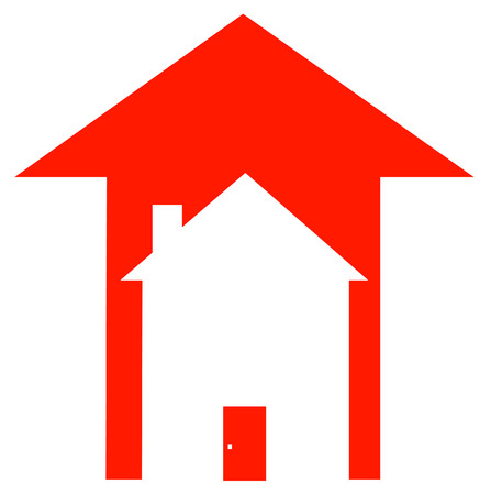 communication metaphor: red up arrow with house inside - rising prices in housing market - vector