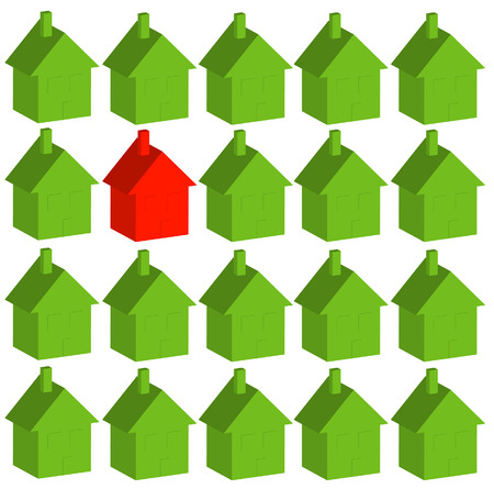 one red house among many green - being different - vector Vector