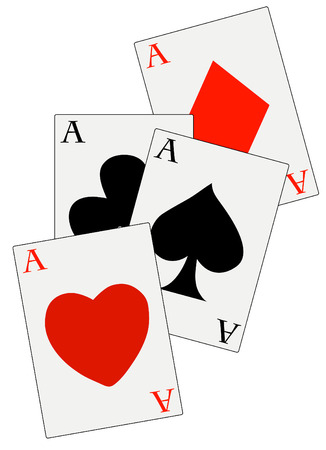 solitaire: poker deck with four aces in all suits - vector