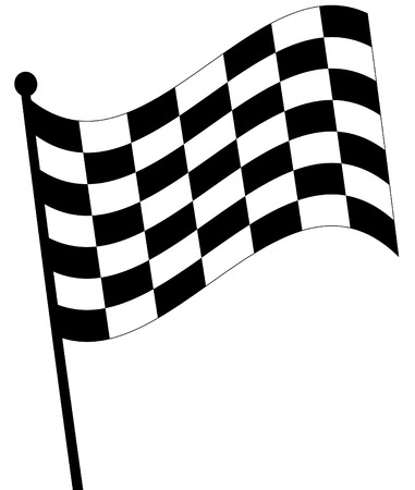 checked: waving checkered fag on white background - vector