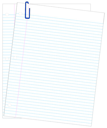 looseleaf: two sheets of lined paper with blue paper clip - vector