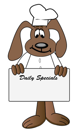 kitchen counter: cartoon of dog chef holding daily specials menu sign - vector Illustration