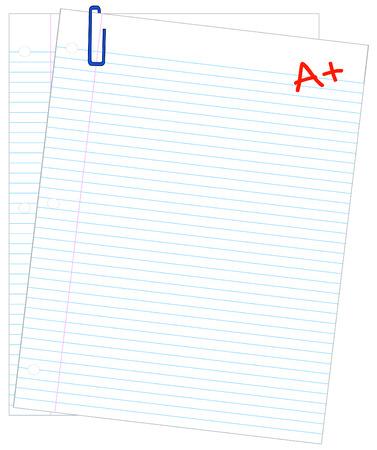 filler: dos hojas de papel rayado con A + - hacer que el grado - vector