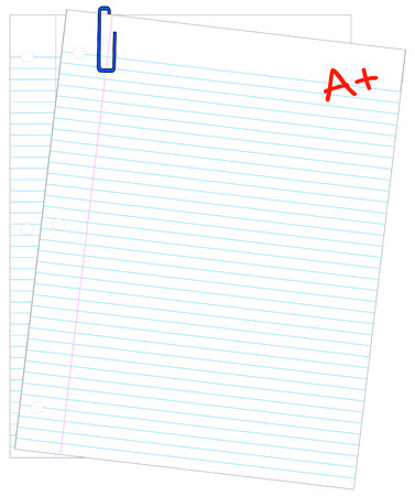 two sheets of lined paper with A + - making the grade - vector Vector