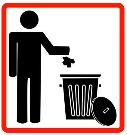 afvalbak: afbeelding van de persoon die het gooien van afval in een prullenbak - geen rondslingeren - vector