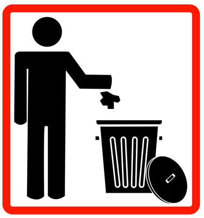proibido: figure of person throwing garbage into a trash can - no littering - vector