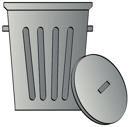 papelera de reciclaje: metal galvanizado cubo de la basura con tapa - vector