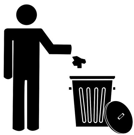 botar basura: la figura de la persona tirar basura en un bote de basura - no tirar basura - vector