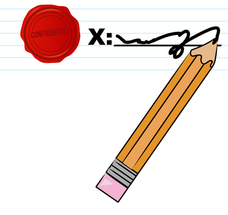 signing document: pencil signing document with confidential wax seal - vector Illustration