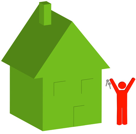 owning: 3d house and person with keys - selling or buying house - vector