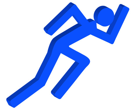 3D stick figure or person running in a hurry - vector Vector
