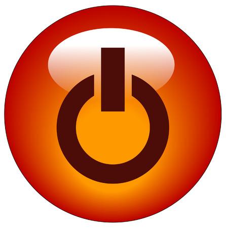 kracht: pictogram voor energiebeheer van de rode knop of web - vector