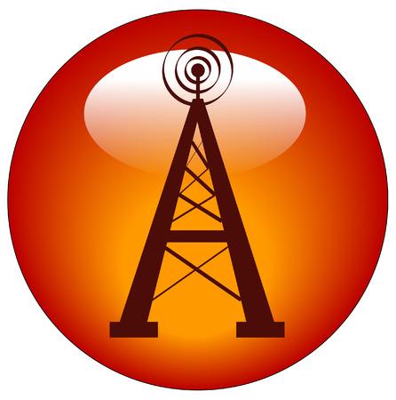 radio tower button or web icon - vector Vector