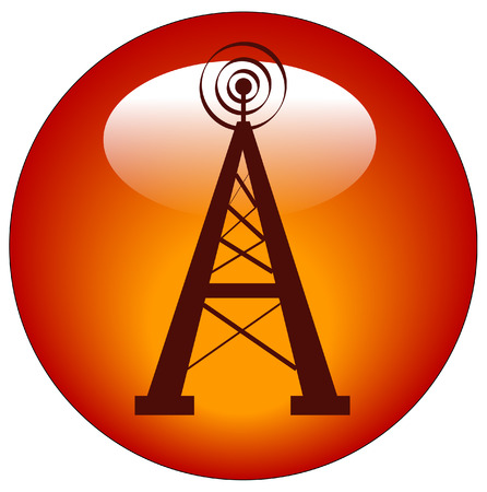 radio tower: radio tower button or web icon - vector