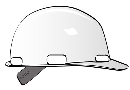 mine worker: construction workers hard hat on white - vector Illustration