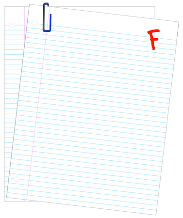 lined paper marked with F- - failing mark or grade - vector Vector