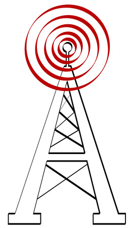 tv tower: radio antenna or tower with signal - vector