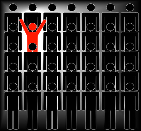 standing out: human figures with one standing out in the crowd - vector