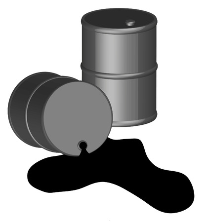 oil change: oil spilling out of one black oil barrel 3D - vector