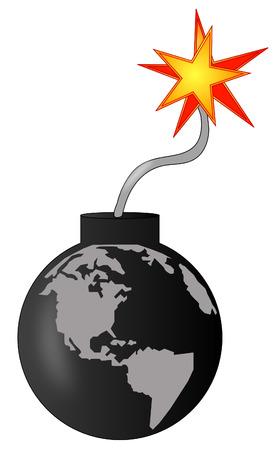earth as an explosive bomb going off - vector Vector