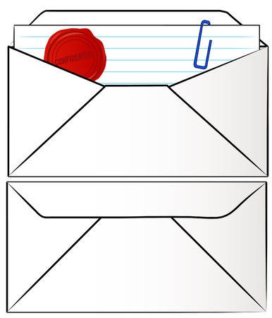 envelope with confidential document inside - vector Vector