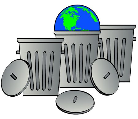 many garbage cans - one holding globe or earth - vector photo