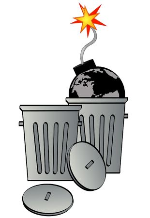 garbage can with globe as bomb - global destruction - vector Stock Photo - 2805509