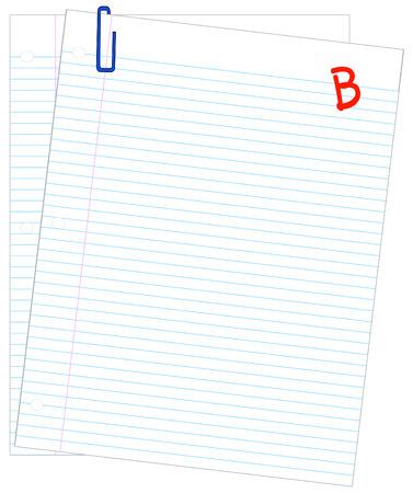 filler: dos hojas de papel rayado clasificado con un B - vector