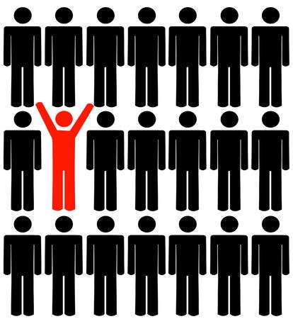 figuras humanas: figuras humanas con un pie en la multitud - vector  Vectores