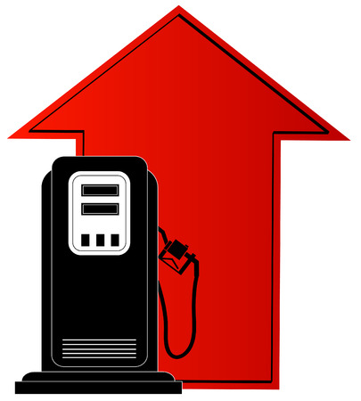 octane: gas pump and up arrow - rising cost of fuel - vector
