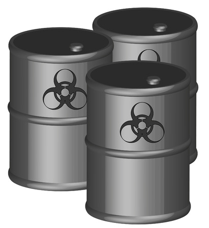 toxic substance: three black barrels with biohazard symbol - 3D - vector