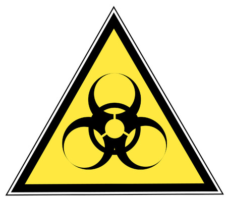 toxic substance: biohazard warning on yellow triangle sign - vector Illustration