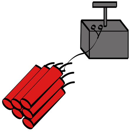 ignited: sticks of dynamite with detonator - vector Illustration