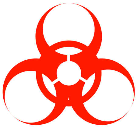 red biohazard warning sign or logo on white - vector Stock Vector - 2818817