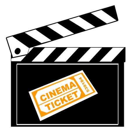 flick: movie or film clapboard with cinema ticket - vector