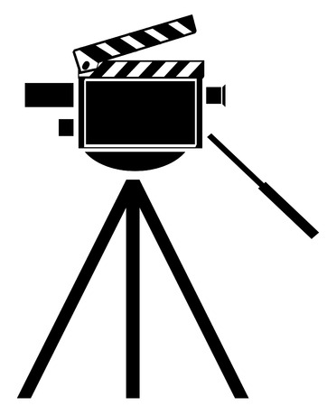 customer records: black silhouette of movie camera with camera as clapboard- vector