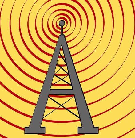 transmit: radio tower with sound waves on yellow background - vector