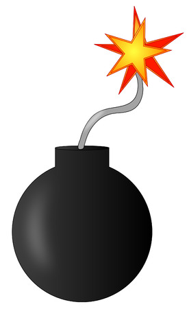 detonate: explosive bomb with burning fuse - ready to explode - vector