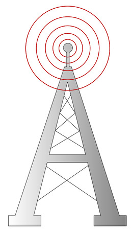 wireless: radio antenna or tower with signal - vector
