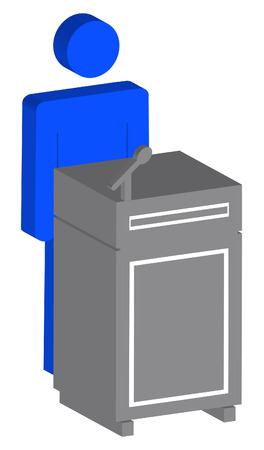 3d speaker standing at podium Vector