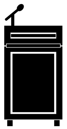 black silhouette of podium with a microphone - vector Vector