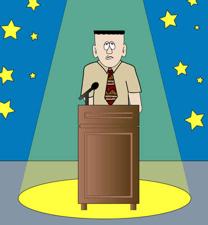 decision making: shy or nervous man giving speech standing in the spotlight - vector