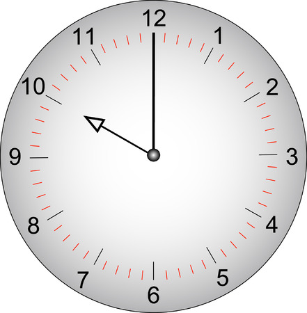 second hand: grey clock face with minutes marked off - 10 oclock - vector