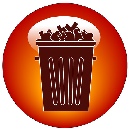 throwaway: full trash can button or icon - vector