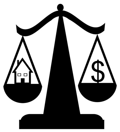 scales of justice with house and dollar sign - balancing housing market crisis - vector Vector