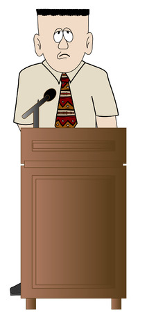 famous actor: shy or worried business man standing at the podium - vector Illustration