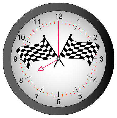 race winner: clock with checkered flags on top - race against time - vector