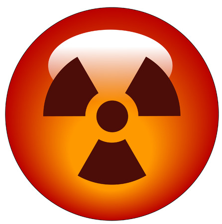 infectious disease: red radio active logo on red button or icon - vector