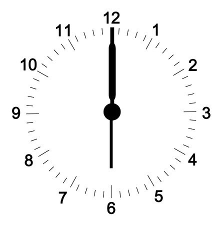 clock hands: clock face with minutes set at six oclock - hands can be  adjusted to your position - vector