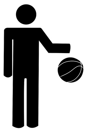black people: stick person figure bouncing a basketball - vector